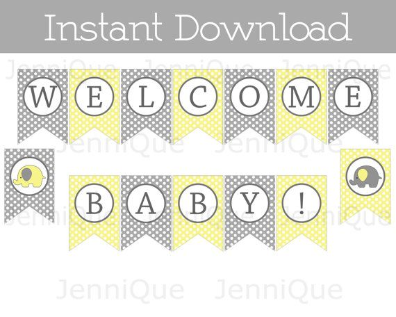 Printable Welcome Baby Banner Yellow and Gray by JenniQuePrintShop