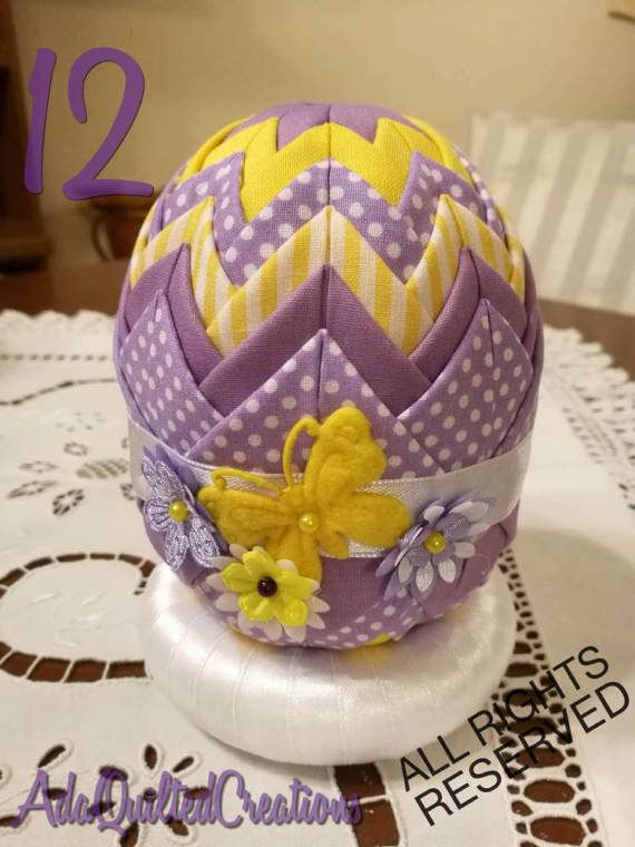 Easter decorative eggs folded fabric easter by AdaQuiltedCreations
