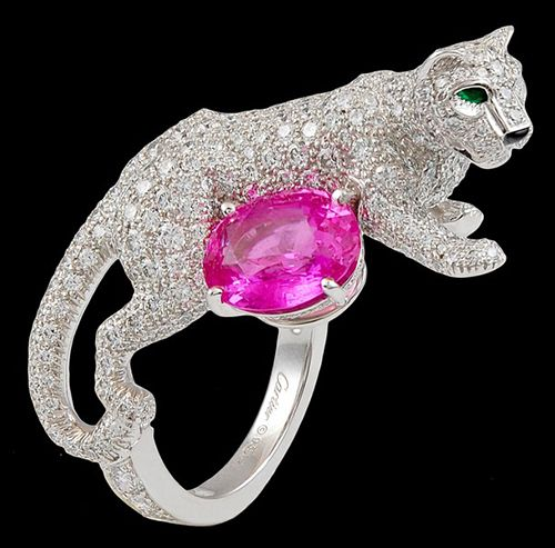 CARTIER Diamond & Pink Sapphire 'Panther' Ring - unique jewelry