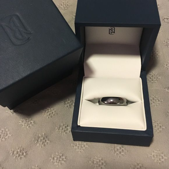 Blue Nile Tungsten Wedding Band NWOT. Not sure what the size is so I took a pic with a measuring tape (see last pic). Very nice ring. Could be worn by a man or woman. Blue Nile Jewelry Rings