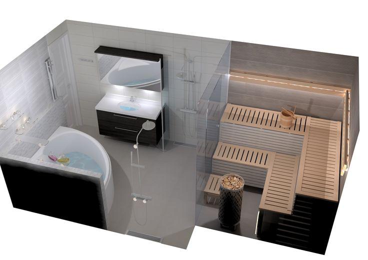 Kylpyhuone- ja saunasuunnitelma Nuance.   Lasiseinä saunan ja pesutilan välissä antaa valon kulkea ja lisää tilan tuntua.www.k-rauta.fi