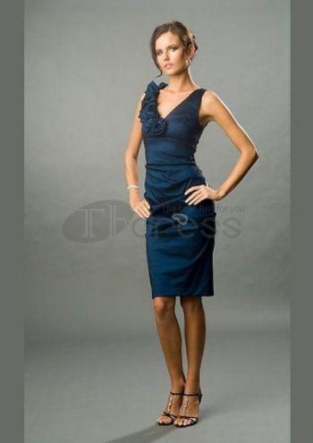 Fashion Sheath V-neck Knee-Length Short Evening Dresses