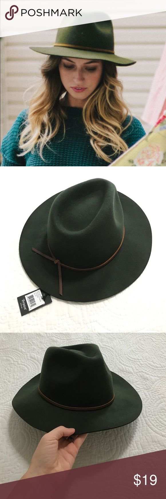 "Heather Moss Brixton Wesley fedora - unisex Brand new with tags Brixton Wesley fedora. Gorgeous moss green color with genuine leather band. Size M (7 1/4; 58cm). My head measures 23"" around (huge, I know) and this hat fits me. Gorgeous quality wool felt with a floppy brim. Unisex style is perfect for men and women! Let me know of any questions! Brixton Accessories Hats"
