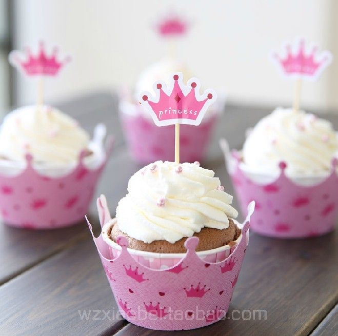 Free Shipping pink princess crown cake toppers picks baby girl party birthday decorations supplies baby shower cupcake wrappers-in Event & P...
