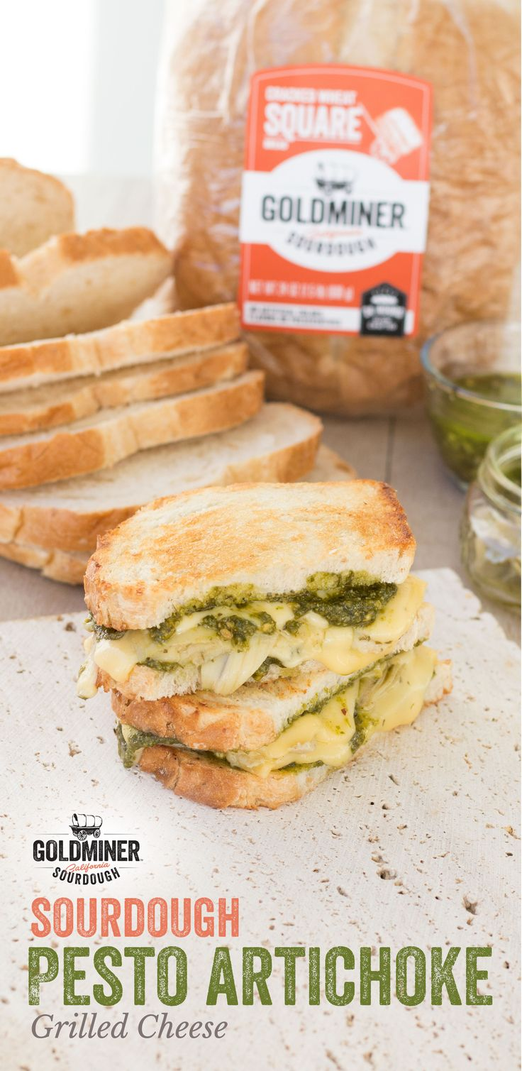 Sourdough Pesto Artichoke Grilled Cheese: Great grilled cheese starts with great bread. California Goldminer Cracked Wheat Square Bread brings unmatched hearty texture and tangy flavor to whatever you sandwich between it. Try this melty good option with Gouda cheese, pesto and artichokes.