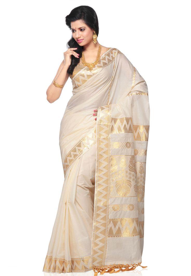 Off White Cotton Kerala Kasavu Saree with Blouse: SPV117
