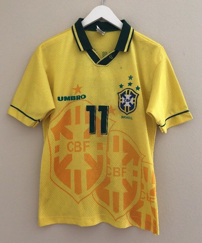 a2a89be94 VTG 90s 1994 Umbro BRAZIL ROMARIO World Cup Soccer Jersey Mens S Youth XL