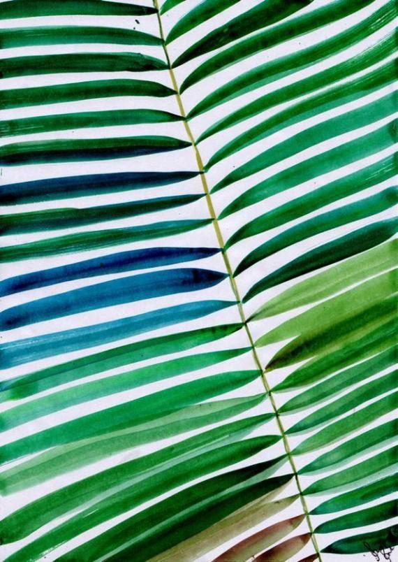 Foglia di Palma tropicale Set 3 pittura ad di Sweepinggirl su Etsy