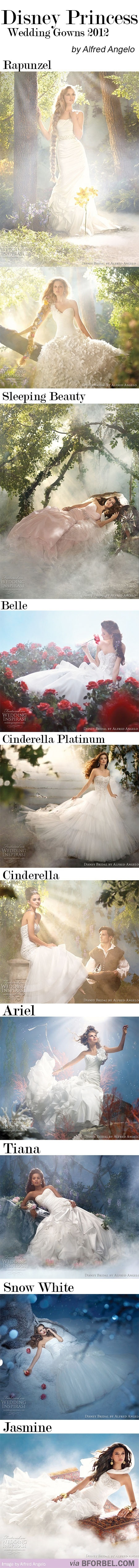 Disney wedding dresses I love Rapunzel's & Sleepy Beauty's