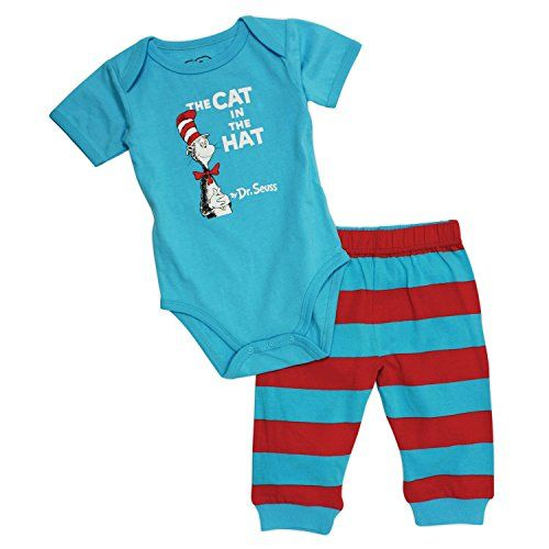 Dr Seuss Short Sleeve Bodysuit and Pants Blue Cat 3