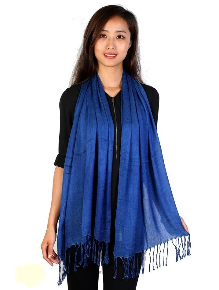 "Royal Blue Pashmina Silk Blend Fashion Scarf Wrap 72"" X 40"" NEW NWT #NorthSouthFashions #Pashmina"