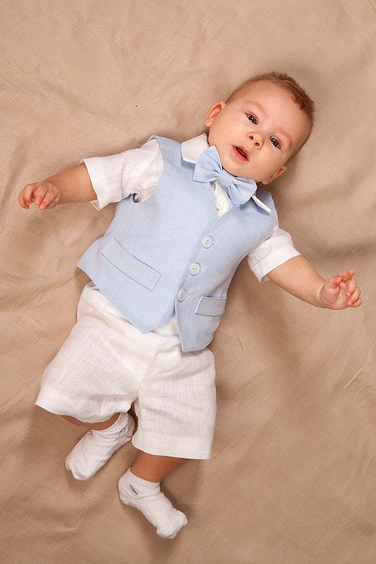 Baby boy natural linen suit includes SET of 4 : - Vest - Shorts - Shirt - Bow tie Vest is fully lined with cotton. Pants comes in elastic waist