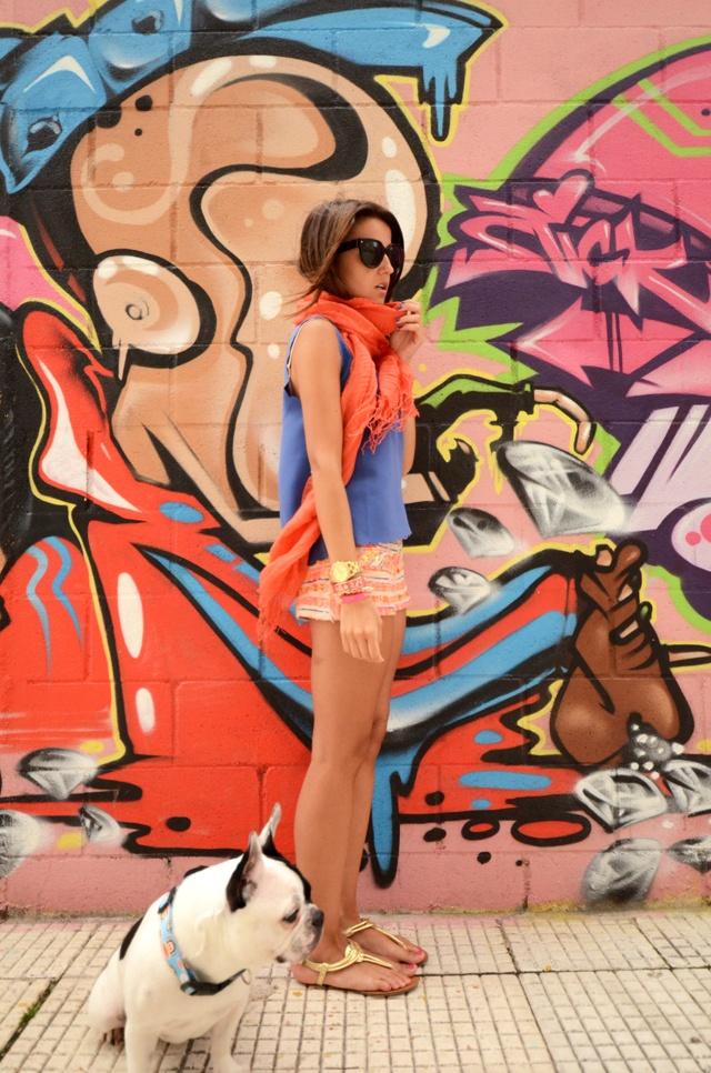 Het is mooi graffiti. Dat meisje is ook een mooie meisje. Het is kleurrijk.