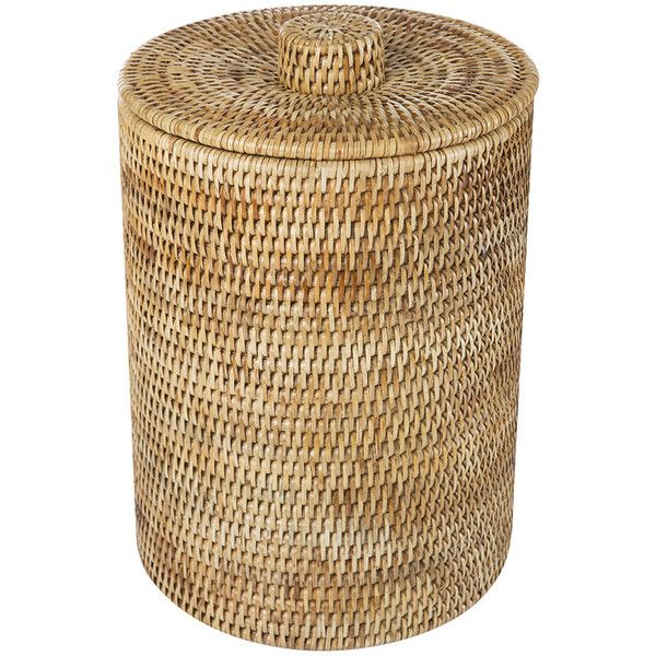 Baolgi Rattan Waste Basket with Plastic Lining (210 CAD) ❤ liked on Polyvore featuring home, home decor, small item storage, brown, plastic wastebasket, plastic waste bin, rustic home decor, rattan waste basket and plastic waste basket