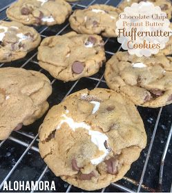 Chocolate Chip Peanut Butter Fluffernutter Cookies.  Flourless cookies so they are naturally gluten free.  Easy and delicious cookies to make that bring your back to fluffernutter sandwich days.  Flourless peanut butter cookies filled with Marshmallow Fluff/Cream is something new and fun, and yet classic enough.  Alohamora Open a Book http://www.alohamoraopenabook.blogspot.com/ gf gluten free dessert recipe cookies unique