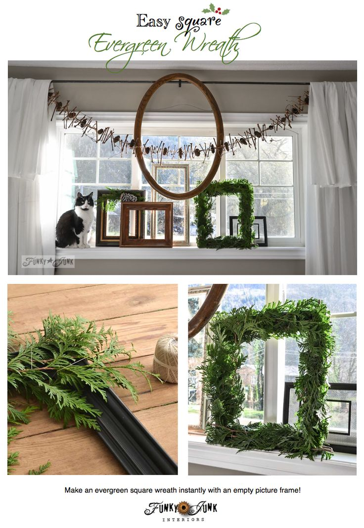Create a square evergreen wreath with just a picture frame... instantly! via http://www.funkyjunkinteriors.net/ #12days72ideas