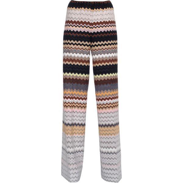 MISSONI Zig Zag Wide Leg Multi // Crochet-knit wide-leg pants (1.970 RON) ❤ liked on Polyvore featuring pants, pantaloni, wide leg palazzo pants, wide leg trousers, wide leg knit pants, high waisted wide leg pants and knit palazzo pants