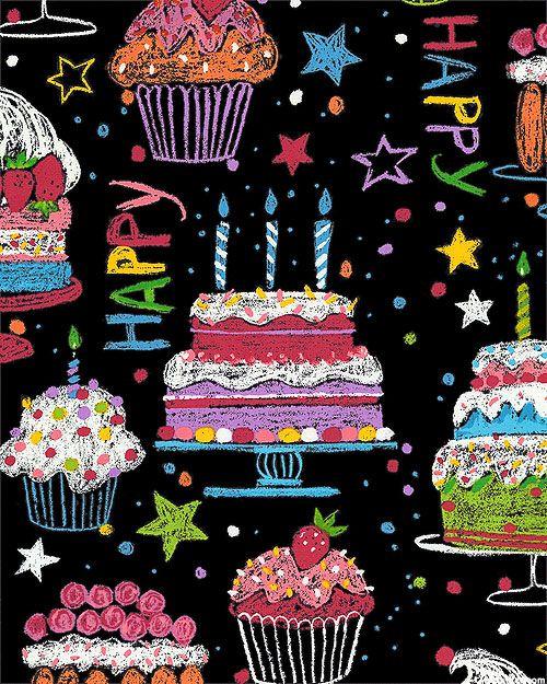 Happy Birthday - Colored Cakes - Black