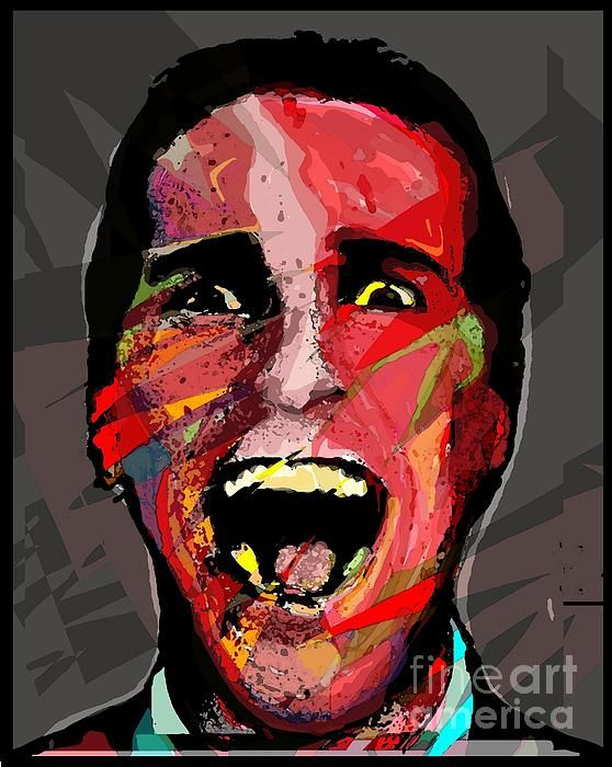 Say Hello To My Ego by brett66. A portrait of Christian Bale as Patrick Bateman from the movie American Psycho, book by Bret Easton Ellis.