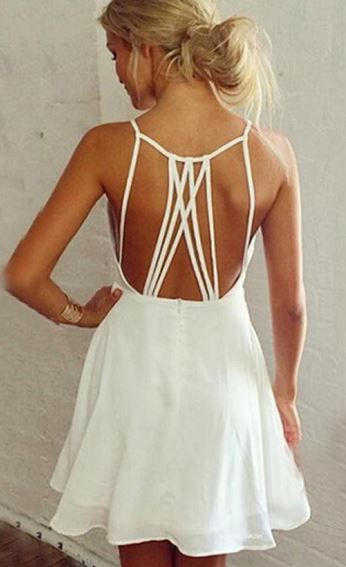 White Back Hollow-out Strap A-line Dress