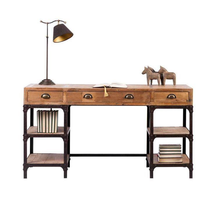 Rustikaler Schreibtisch Aus Kiefer Massivholz Eisen Jetzt Bestellen Unter:  ...