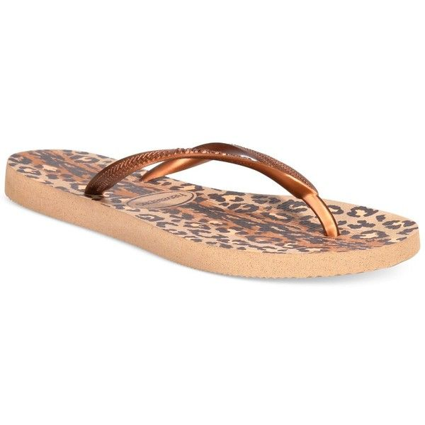 Havaianas Women's Slim Animal Flip Flops ($28) ❤ liked on Polyvore featuring shoes, sandals, flip flops, rose gold, havaianas flip flops, rose gold sandals, havaianas, rose gold shoes and havaianas sandals