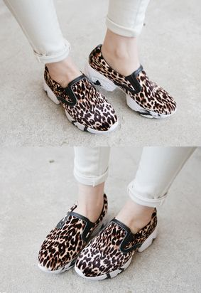 Lace-Less Leopard Sneakers