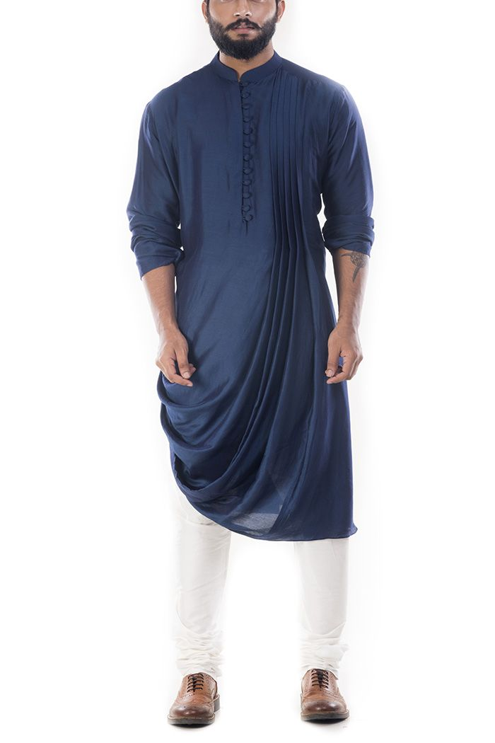 Online Fashion Store  Designer Clothing -Smritiapparels.com. Royal Blue Cowl Drapped Kurta With Churidar Pants-@Smritiapparels.com