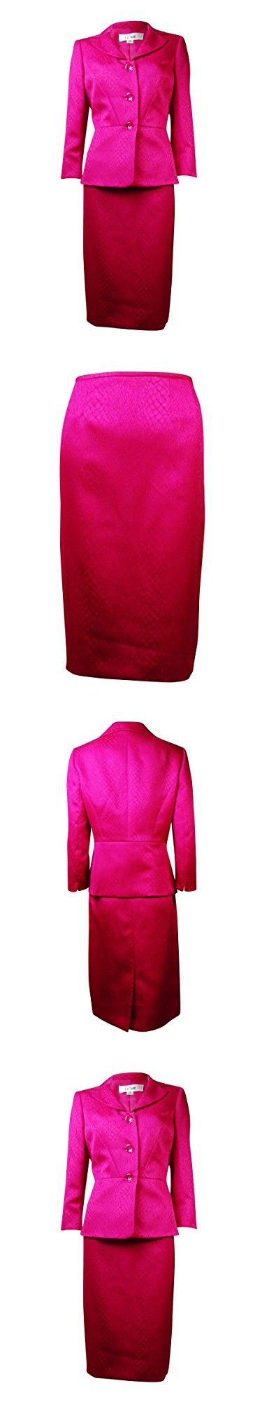 Le Suit Womens Plus Snake Print 2PC Skirt Suit Pink 16W