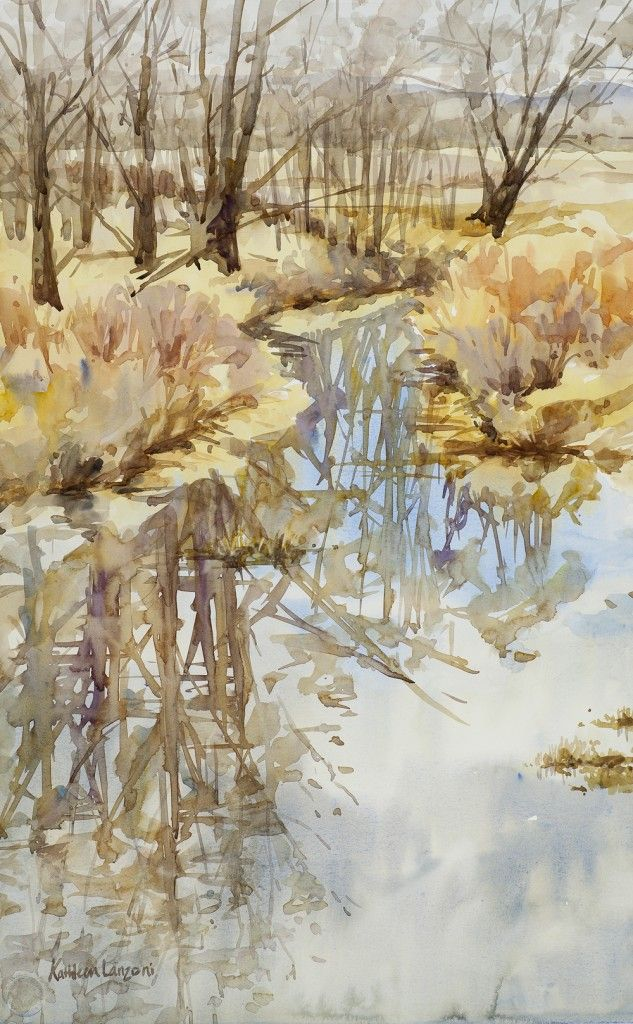 """Reflecting on February 14"""" x 22"""" original watercolor - giclee available"""