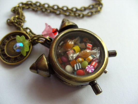 Fantastic alarm clock Whimsical necklace by NewellsJewels on Etsy, £17.00