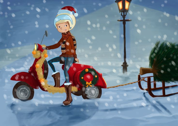 Julia Jager illustrations, christmassy scootergirl