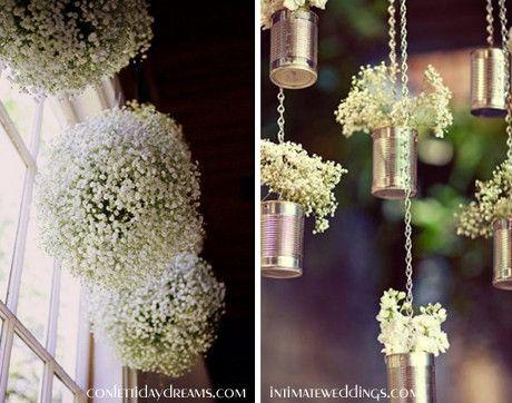 dekoracja ślubna wesela gipsówka pomysły
