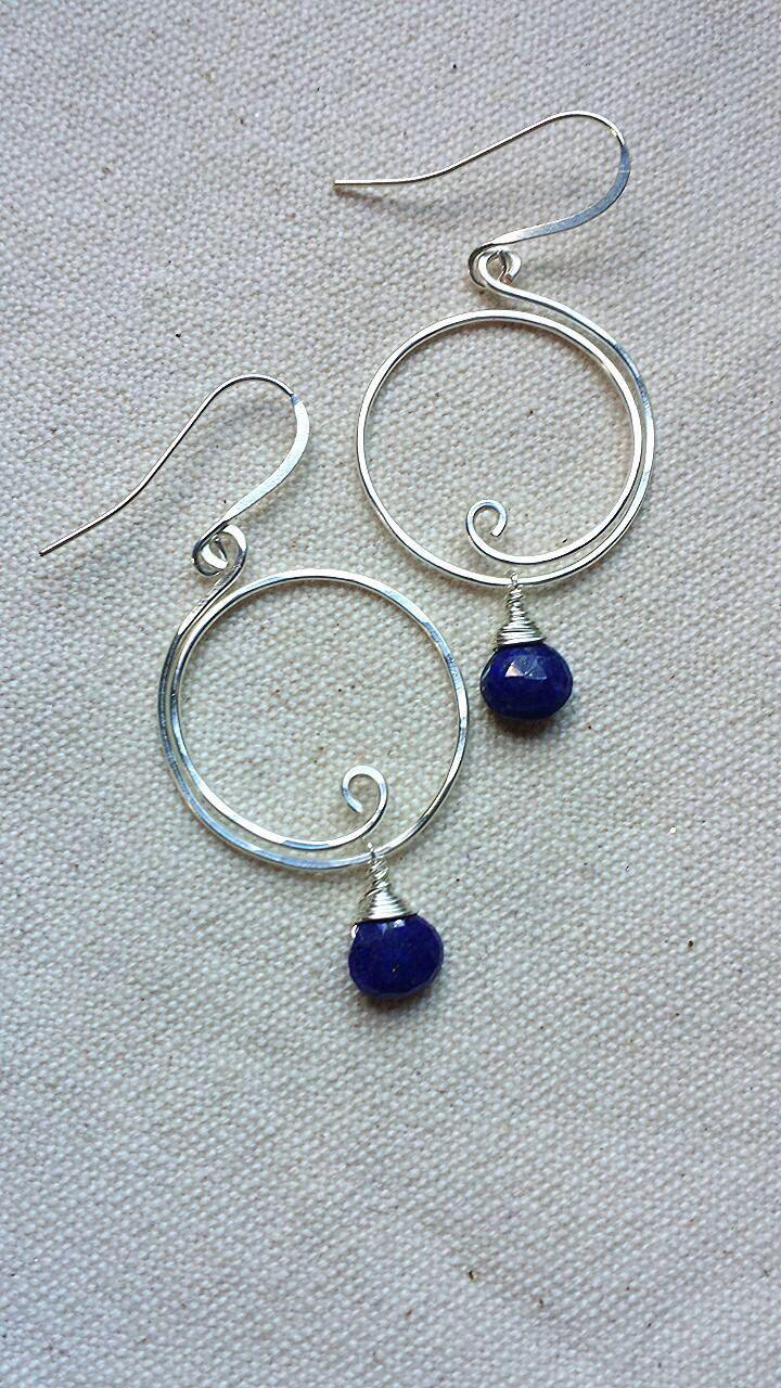 Lapis Lazuli Silver Wire Wrapped Hoop Earrings by BlackwoodArts on Etsy https://www.etsy.com/transaction/1037369114