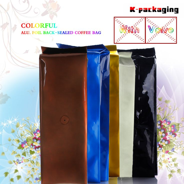 5 pcs 10x32cm 500g Plain Aluminium foil Side Gusset Coffee Packaging Bag with One-way Coffee / Plastic Coffee Bags with Valve