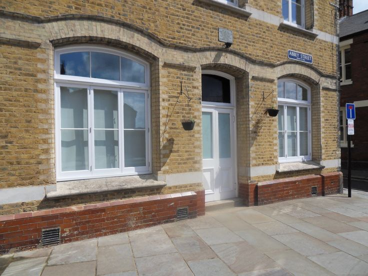 Timber windows painted white