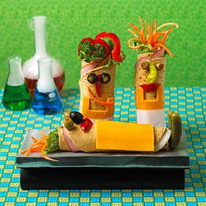 Mad Scientist Wraps    Create a creepy Frankenstein laboratory in your kitchen with these creative sandwich wraps. There's no need to run to the store; let the contents of your refrigerator inspire you.