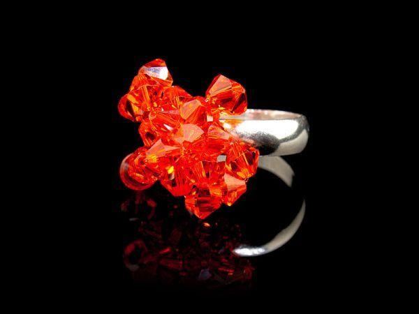 Handmade sterling silver ring with Swarovski crystals by K.Korn