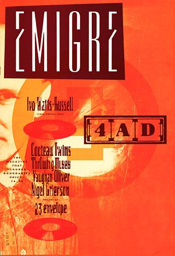 "Emigre Magazine cover ""The music label 4AD, Vaughan Oliver, Ivo Watts-Russell & 23 Envelope"" by Rudy Vanderlans / Issue nº 9 / 1988"