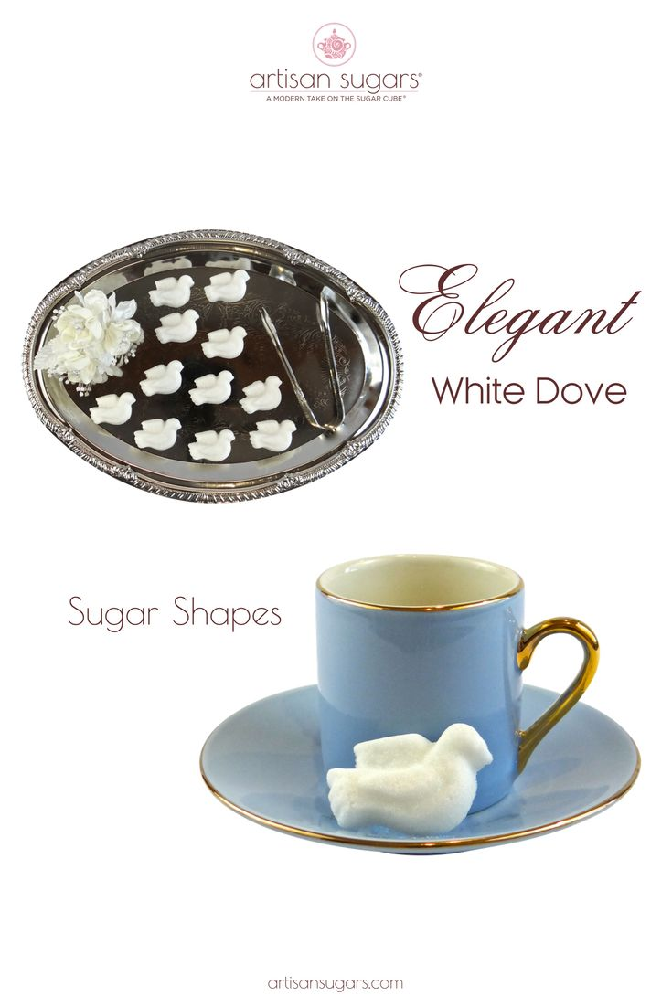 Our White Dove Sugar Shapes make an elegant addition to the coffee and tea service. Perfect for wedding receptions!