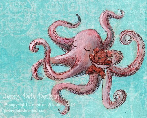 Hey, I found this really awesome Etsy listing at https://www.etsy.com/listing/188443943/octopus-and-teddy-nautical-nursery-art