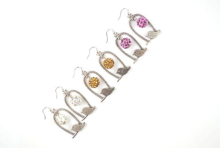 Antique silver rhinestone beads bird earrings!