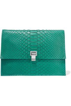 PROENZA SCHOULER WOMAN LARGE LUNCH BAG PYTHON CLUTCH JADE. #proenzaschouler #bags #leather #clutch #hand bags #