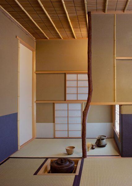 japan thea house beautifull bamboo ceiling