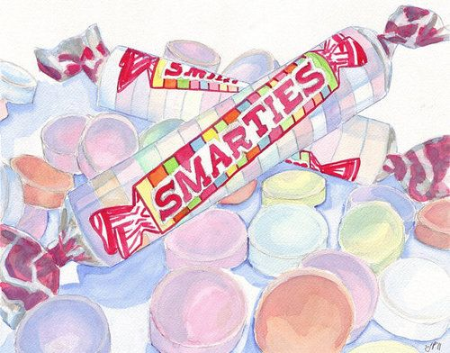 Watercolor Painting Smarties Candy Watercolor Art by jojolarue