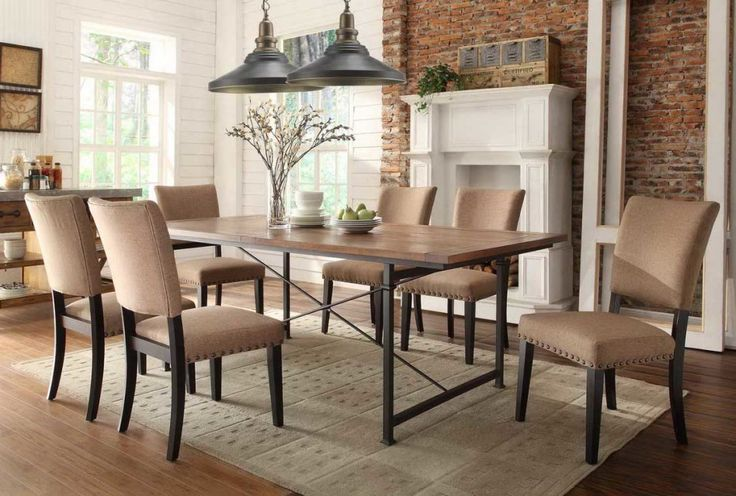 Dining Room, : Wonderful Image Of Rustic Dining Room Decoration Using Aged Brown Brick Dining Room Wall Including Rectangular Solid Light Oak Rustic Dining Table And Light Brown Fabric Dining Chair Ideas