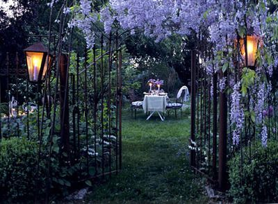garden gate with wisteria