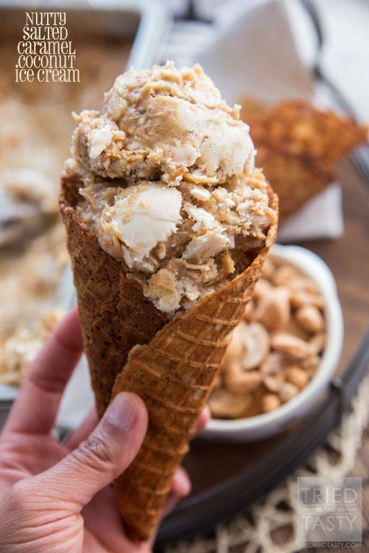 Nutty Salted Caramel Coconut Ice Cream on MyRecipeMagic.com