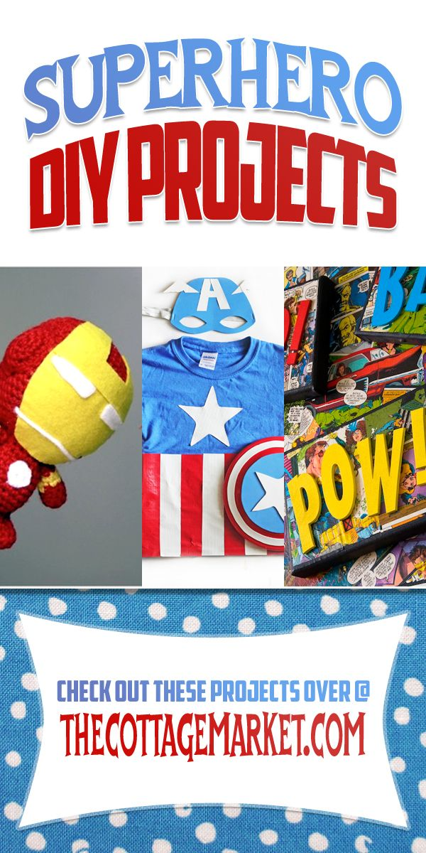 Today we are going to venture into the world of SuperHero DIY Projects! There is a lot of fun in here for ALL ages! So hold on to your cape Batman…we are going to visit the world of Comic Book Hero's! Bet we will see Iron Man…Spiderman…Batman…Captain America…Superman and a bit of ZAM…POW!!!http://www.thecottagemarket.com/2014/03/superhero-diy-projects.html