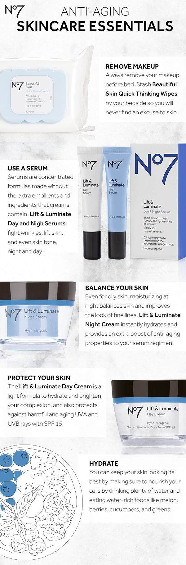 Want to get glowing skin? Fight lines and wrinkles and brighten skin with our No7 Lift & Luminate anti-aging skincare regimen for  morning and night.  Products featured (all available at @Target): No7 Beautiful Skin Quick Thinking Wipes: $6.99  No7 Lift & Luminate Day & Night Serum: $26.99 No7 Lift & Luminate Night Cream: $24.99 No7 Lift & Luminate Day Cream: $23.99